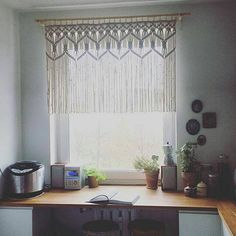Custom Kitchen Macrame Curtains Bohemian Short by KnotSquared