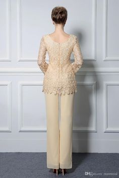Magbridal Romantic Pant Suits Chiffon & Lace Scoop Neckline Full-length Mother Of The Bride Dresses Mother Of Groom Dresses, Mothers Dresses, Mother Of The Bride, Pakistani Wedding Outfits, Sexy Wedding Dresses, Bride Dresses, Ball Dresses, Ball Gowns, Unconventional Wedding Dress