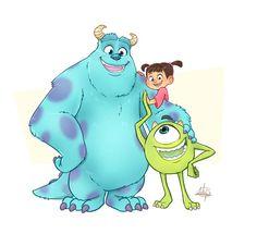 Monsters Inc by Luigi Lucarelli Monsters Inc Characters, Monsters Ink, Disney Monsters, Real Monsters, Kawaii Disney, Cute Disney, Disney Art, Imagenes Monster Inc, Sullivan Y Boo
