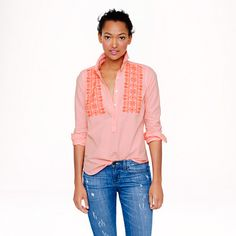 Embroidered neon-stripe popover - casual shirts - Women's shirts & tops - J.Crew