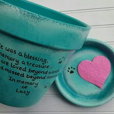 Beautiful personalized pet memorial planters by HappyMooseGardenArt.Etsy.com