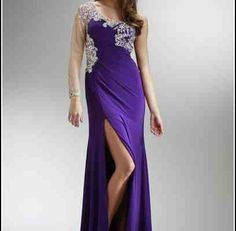 Purple One Strap Prom Dress
