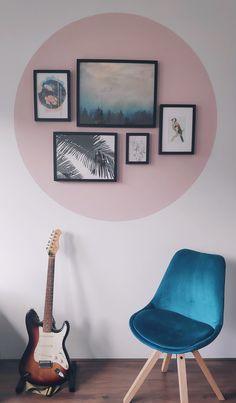 Bedroom Wall, Bedroom Decor, Wall Decor, Painted Headboard, Room Wall Painting, Guitar Wall, Pink Walls, My New Room, Home Decor Inspiration
