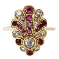 Diamond and Ruby Fan Ring