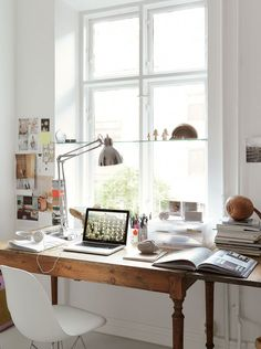 Workspace in front of a window
