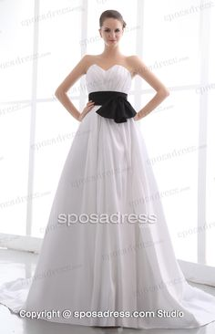 Comfortable Sweetheart Court Train White Wedding Gown With Black Sashes
