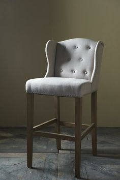 Keith Lowback Barstool, linen flax