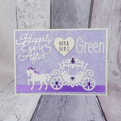 Unique handmade Cinderella wedding card - Princess horse and carriage fairytale wedding Card.  This unique wedding keepsake card has a fairytale coach fit for a princess on top of a metallic paper and surrounded by the message: Happily Ever After. Plus the happy couples married name: Mr & Mrs. Gems accent the carriage and the mane of the horse / pony. Blue ribbon provides a red carpet for the horse, carriage and married couple to travel on.  This card can be customised to Mr & Mr... Wedding Cards Handmade, Wedding Keepsakes, Handmade Cards, Happy Couples, Horse Carriage, Cinderella Wedding, Metallic Paper, Big Shot, Blue Ribbon