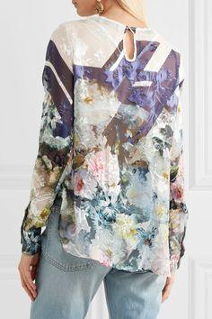Preen by Thornton Bregazzi - Neo Floral-print Devoré Silk-blend Chiffon Top - Blue - x large