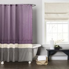 @Overstock.com - Lush Decor Mia Purple/ Grey Shower Curtain - This dark elegant shower curtain turns an ordinary bathroom into a really special place. Fabricated with faux silk, the surface comes alive with pieced fabrics of purple, grey and ivory complemented with a pleated design running the width of the curtain. http://www.overstock.com/Bedding-Bath/Lush-Decor-Mia-Purple-Grey-Shower-Curtain/8369450/product.html?CID=214117 $34.99