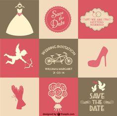 Cartão de casamento vetor livre 9 partes
