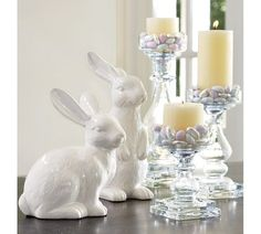 Ceramic Bunnies | Pottery Barn. Easter tabletop