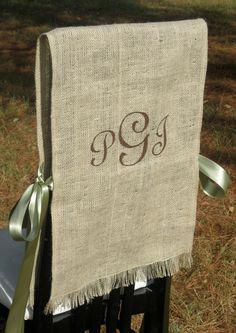 Burlap Bride and Groom Chair Covers - Rustic Wedding. $42.00, via Etsy.