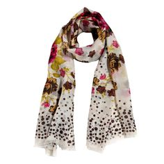 sciarpa 100% seta di colore bianco con motivo a fiori colorati e pois marroni. Made in India. Lunghezza 180 cm, Larghezza 100 cm