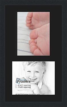 arttoframes collage photo frame double mat with 2 85x11 openings and satin black frame