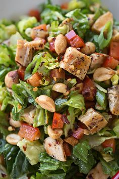 Kung Pao Chicken Chopped Salad with Szechuan Dressing