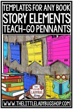 Grow your readers with these creative Reading Strategy Story Elements Templates Teach-Go Pennants. These are a unique way for students to respond to reading and focus on a reading strategy! Pennants are ready to print and go! Perfect for 3rd grade, 4th grade, 5th grade and home school students! #readingstrategies #authorspurpose #storyelements