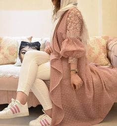 Style by model Modest Fashion Hijab, Pakistani Fashion Casual, Pakistani Dresses Casual, Indian Fashion Dresses, Pakistani Dress Design, Muslim Fashion, Fashion Outfits, Stylish Dresses For Girls, Stylish Dress Designs
