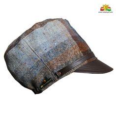5a5b51ef5f5 Blue Tweed   Faux Leather hat for dreadlocks