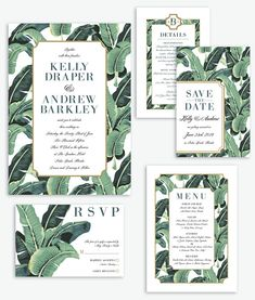 Modern Banana Leaf Palm Beach Wedding Invitation Suite Palm