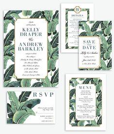 Modern Banana Leaf Palm Beach Wedding Invitation Suite Palm