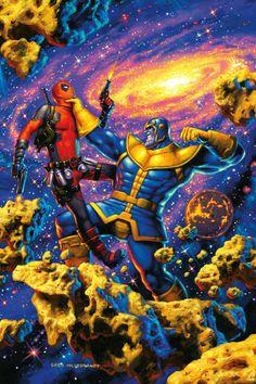 Deadpool vs Thanos - Greg Hildebrandt