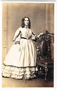 Old CDV Lady in Crinoline Dress Ruff Photo Brighton Victorian Hair Fashion 1860s | eBay