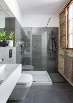 'Minimal Interior Design Inspiration' is a weekly showcase of some of the most perfectly minimal interior design examples that we've found around the web - all Bathroom Glass Wall, Small Bathroom Redo, Design Your Own Bathroom, Dark Gray Bathroom, Kid Bathroom Decor, Grey Bathrooms, Bathroom Layout, Bathroom Colors, Bathroom Sets