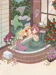 kaiami: camellia to orchid flat color digital version-/ positive please .- kaiami: ツバキとラン flat color digital version – /positive please/ kaiami: camellia and orchid flat color digital version - Art And Illustration, Illustrations, Kunst Inspo, Art Inspo, Aesthetic Anime, Aesthetic Art, Anime Kunst, Anime Art, Pretty Art