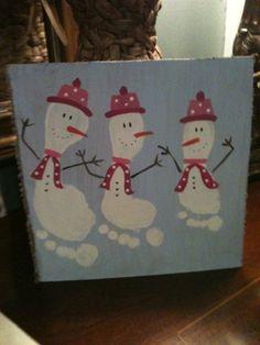 Cute footprint snowmen.