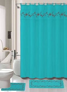 Great Amazon.com   15 Piece Elegant Embroidery Heavy Duty Vinyl Shower Curtain  And Bathroom Mat