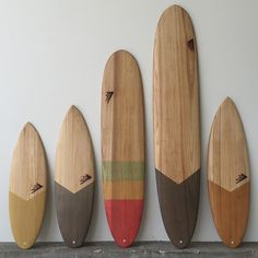 "Left to right: 5'2"" Dominator 5'10"" Spitfire. 8'0"" Special T 9'9"" Special T 6'0"" Dominator All in TimberTek 18% Recycled Content EPS Foam 38% Plant Based Resin 25% Reduction in fiberglass used compared to other traditional surfboards sustainable art surfboards @sustainsurf"