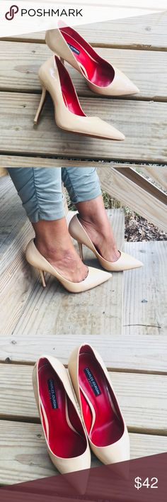 🎉HP🎉Nude Patent Leather Pumps!! Charles Jourdan pointed toe pump. 4.5 inch heel. Has a scuff to back shown in pic 4. No box but will be shipped with care!! Overall very gently used!! Charles Jourdan Shoes