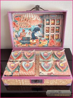 Sweet Love Briefcase by Yumi Muraeda Graphic 45 - collection - Sweet Sentiments - Cafe Parisian Tea Packaging, Pretty Packaging, Packaging Design, Branding Design, Paper Art, Paper Crafts, Up Book, Mini Scrapbook Albums, Graphic 45