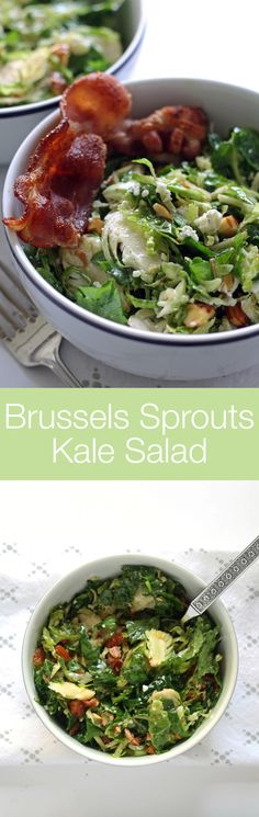 Brussels sprouts kale salad with bacon, almonds, blue cheese and a lemon garlic vinaigrette. Lunch is served! | honeyandbirch.com #gf (Blue Cheese Vinaigrette)
