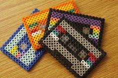Love this Hama bead cassette tape idea. Perler Bead Designs, Hama Beads Design, Diy Perler Beads, Perler Bead Art, Pearler Beads, Pearler Bead Patterns, Perler Patterns, 8 Bits, Iron Beads