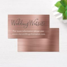 Rose Gold Wedding Website Card Insert - script gifts template templates diy customize personalize special