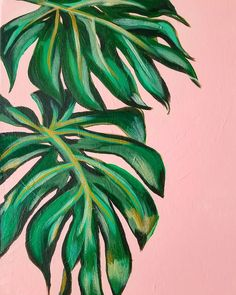 Plant Painting, Plant Art, Easy Canvas Art, Diy Canvas, Cheese Plant, Pink Leaves, Tropical Vibes, Large Art, Botanical Art