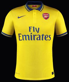 22147d571 Arsenal Away Kit by Nike. The New Arsenal Away Jersey comes in yellow with  blue and red details. Arsenal Kits are the last produced by Nike.