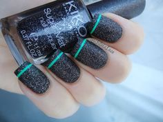 Silvia Lace Nails: Textured nail art with a subtle splash of neon