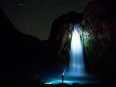 Picture of Havasu Falls in Arizona at night illuminated by a headlamp Photograph by Jes Stockhausen, National Geographic Your Shot