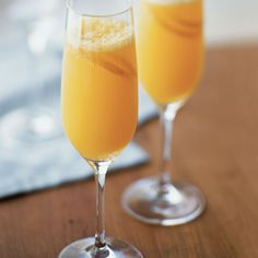 Tangerine Mimosa   2 cups (16 fl. oz./500 ml) fresh tangerine juice, chilled 1 bottle (750 ml) Champagne, Prosecco or dry sparkling wine, chilled 4 tangerine peel strips for garnish