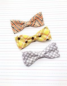 Fall clip on bow tie. Baby boy bow tie. By LovelyLittleBabies