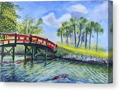 Red Island Bridge Canvas Print / Canvas Art by Colleen Proppe Red Art, Stretched Canvas Prints, Canvas Material, Valentine Gifts, Fine Art America, Giclee Print, Canvas Art, Paintings