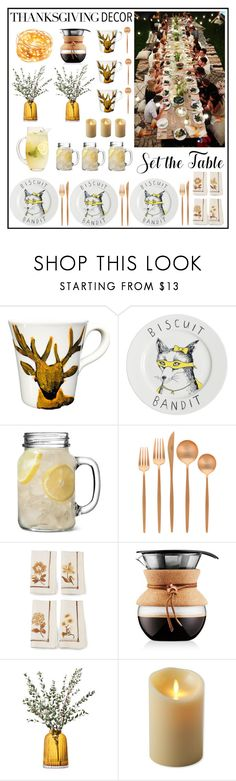 """Set the Table"" by helena99 ❤ liked on Polyvore featuring interior, interiors, interior design, home, home decor, interior decorating, Jimbobart, Cutipol, Jay Strongwater and Bodum"