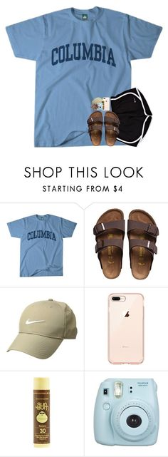 """yo rtd"" by katie-riley1 ❤ liked on Polyvore featuring Columbia, Birkenstock, NIKE, Sun Bum and Fujifilm"