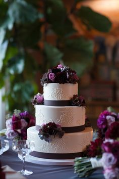 Wedding Cake with Purple Ribbon | photography by http://juliemikos.com | floral design by http://www.mariaphilbinfloraldesign.com/ | wedding planning by http://www.covenantcoordinating.com/