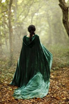 Cloaks Pagan Wicca Witch:  Green velvet hooded cloak and green gown.