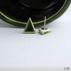 FREE SHIPPING triangle ceramic earings geometric stud by loliti Ceramic Jewelry, Jewlery, Triangle, Stud Earrings, Ceramics, Free Shipping, Unique Jewelry, Handmade Gifts, Green