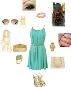 """""""teal dress and gold accessories"""""""